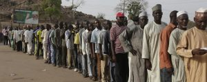 Section of voters at the polling booth